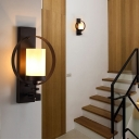 Cylinder Wall Mounted Lamp with Round Metal Industrial 1 Head Indoor Wall Sconce Lighting in Black