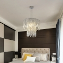 2 Tiers Crystal Pendant Light 4 Lights Modern Bedroom Hanging Ceiling Light in Clear