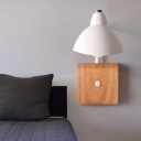 Waveforms Metal Wall Mounted Lamp Contemporary 1 Light White Wall Light Sconce with Square Wooden Backplate