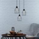 2 Packs Black Birdcage Pendant Lamp Industrial Single Light Metal Indoor Hanging Ceiling Light for Foyer