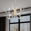 Dining Table Antlers Suspension Light Country Resin 4/6/8/10 Bulbs Chandelier Light Fixture with Chain in White