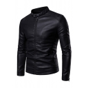 Black Stand Collar Zipper Embellished Long Sleeve PU Leather Casual Jacket Coat