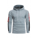 Autumn Simple Colorblocked Panel Long Sleeve Fitted Drawstring Hoodie