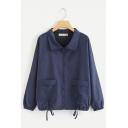 Womens Plain Blue Lapel Collar Elastic Cuffs Drawstring Hem Loose Zipper Casual Jacket