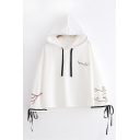 Cute Branch Kitten Printed Side Tied Bell Long Sleeve Loose Fit Drawstring Hoodie