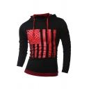 Men's Leisure Color Block Flag Stripes Printed Long Sleeve Drawstring Hoodie