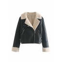 Women's Warm Sherpa-Lined Faux-Fur Oblique Zipper Short Jacket