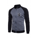 Chest Shield and Sword Printed Stand Collar Raglan Sleeve Zipper Sweatshirt