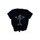 Funny Cartoon Character Printed Short Sleeve Loose T-Shirt Top