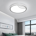 Moon Flush Mount Light with Diffuser Minimalist Metal Bedroom Ceiling Flush Light in White