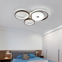 Brown Halo Ring Flush Ceiling Light Contemporary Metal Ceiling Lamp with Drum Acrylic Shade