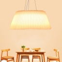 Plastic Ribbed Pendant Light with Tapered Shaped Shade LED White Hanging Ceiling Light, 18