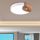 White Round Flush Mount Light Modern Wood and Iron 1 Light Ceiling Light Fixture in Warm/White for Indoor