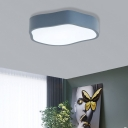 Unique Geometric Flush Light Modern Iron Acrylic Ceiling Light Fixtures in White/Green/Grey for Indoor