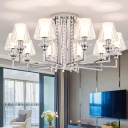 Metal Candle Semi Flush Mount Light with Rectangle Shade 6/8/10 Lights Modern Ceiling Light in Chrome for Villa