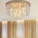 Elegant Style Drum Flush Ceiling Light Clear Crystal 3-Tier LED Ceiling Lamp for Bedroom Hallway
