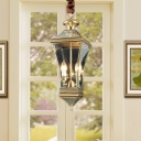 Clear Glass Lantern Pendant Light 2 Lights Vintage Brass Outdoor Lighting for Porch
