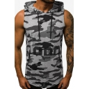 Men's New Stylish Sleeveless Camouflage Letter Printed Loose Fit Drawstring Hoodie