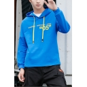 Mens Simple Letter 05 Printed Long Sleeve Casual Drawstring Pullover Hoodie