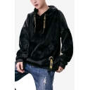 Mens Stylish Cool Figure Letter Printed Long Sleeve Casual Pullover Velvet Hoodie