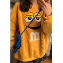 Funny Expression Embroidered Round Neck Long Sleeve Oversized Fluffy Teddy Sweatshirt
