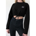ROCK MORE Letter Embroidered Round Neck Long Sleeve Black Teddy Crop Sweatshirt