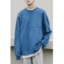 Mens Popular Fashion Round Neck Long Sleeve Simple Plain Oversized Casual Pullover Sweatshirt
