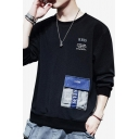 Mens Chic Letter Printed Pocket Embellished Round Neck Long Sleeve Casual Pullover Sweatshirt