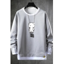 Lovely Cartoon Bear Printed Long Sleeve Round Neck Casual Pullover Sweatshirt for Men