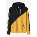 Popular Cartoon Letter TEAM PLAYER Printed Colorblock Long Sleeve Loose Fit Casual Pullover Hoodie for Men