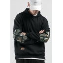 Mens Cool Camouflage Patched Black Long Sleeve Casual Sports Drawstring Hoodie