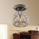 Crystal Domed Flush Mount Light Contemporary Iron 1 Light Ceiling Light Fixtures for Indoor