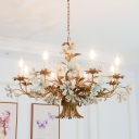 Exposed Bulb Hanging Light with Flower Rustic Metal 8 Lights Ceiling Chandelier in Brass