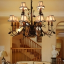 2 Tiers Hanging Chandelier Lighting with Scalloped Fabric Shade Loft Style Multi Light Pendant Lamp