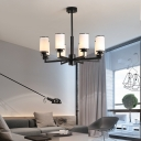 Modern Cylindrical Pendant Light Frosted Glass 6/8/10 Lights Indoor Chandelier in Black/Gold