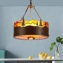 Rustic Drum Hanging Chandelier Metal and Mica Shade Triple Light Pendant Light in Bronze