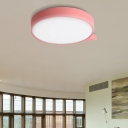 Blue/Pink/Red/Yellow Circular Flush Lighting with Diffuser Macaron Metal Ceiling Flush Mount in Second Gear, 19.5