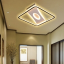 Integrated Led Square Frame Flush Lamp Nordic Metallic Led Close to Ceiling Light in Warm/White, 16