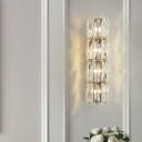 Simple Style Clear Wall Light Tube Shape 2/3/4 Lights Crystal Sconce Light for Dining Room Kitchen
