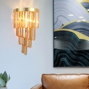 Contemporary Style Wall Light 2 Lights Amber/Clear/Smoke Gray Crystal Wall Lamp for Dining Room Bathroom