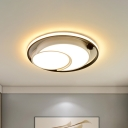 Modern Flush Ceiling Lamp with Metal Round Shade Integrated Led Black/White Flush Lighting, 18