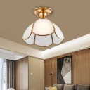Frosted Glass Scalloped Flush Mount Light Traditional 1 Light Foyer Flush Ceiling Lamp in Brass