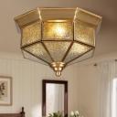 Brass Geometric Flush Mount Ceiling Light Dimple Glass 3 Lights Vintage Ceiling Flush Light