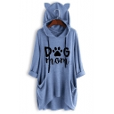 Cute Ear Hood Design Long Sleeve DOG MOM Letter Claw Print Longline Drawstring Hoodie