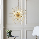 Clear Crystal Sputnik Chandelier Lighting with Chain Mid Century Modern Multi Light Pendant in Gold
