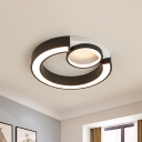 Black/White C Shaped Flush Light Metal Shade Led Modernism Flushmount Lighting for Bedroom, 18