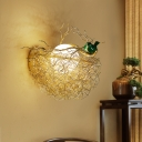 Gold Nest Sconce Lighting Rustic Metal 14