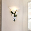 Flared Wall Lamp Light with Flower Country Style Opal Glass 1 Light Wall Mount Lamp