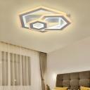 Metal Geometric Flush Ceiling Light Matte White Led Modern Flushmount Lighting in Warm/White