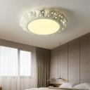 Faceted Round Flushmount Light with White Iron Shade Warm/White Light Modernism Led Foyer Ceiling Light, 16.5